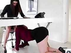 Office free tube - first lesbian seduction